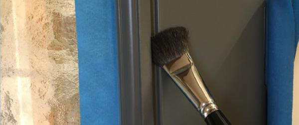 brush painting wooden door